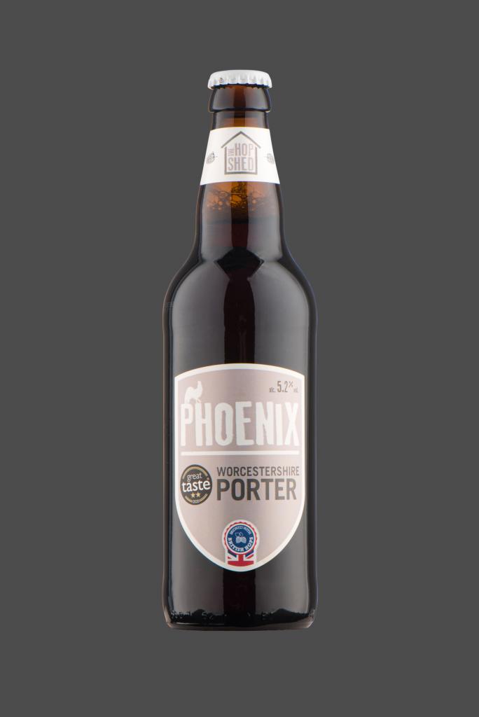 Phoenix Porter The Hop Shed Brewery Bottled Beer on Dark Grey