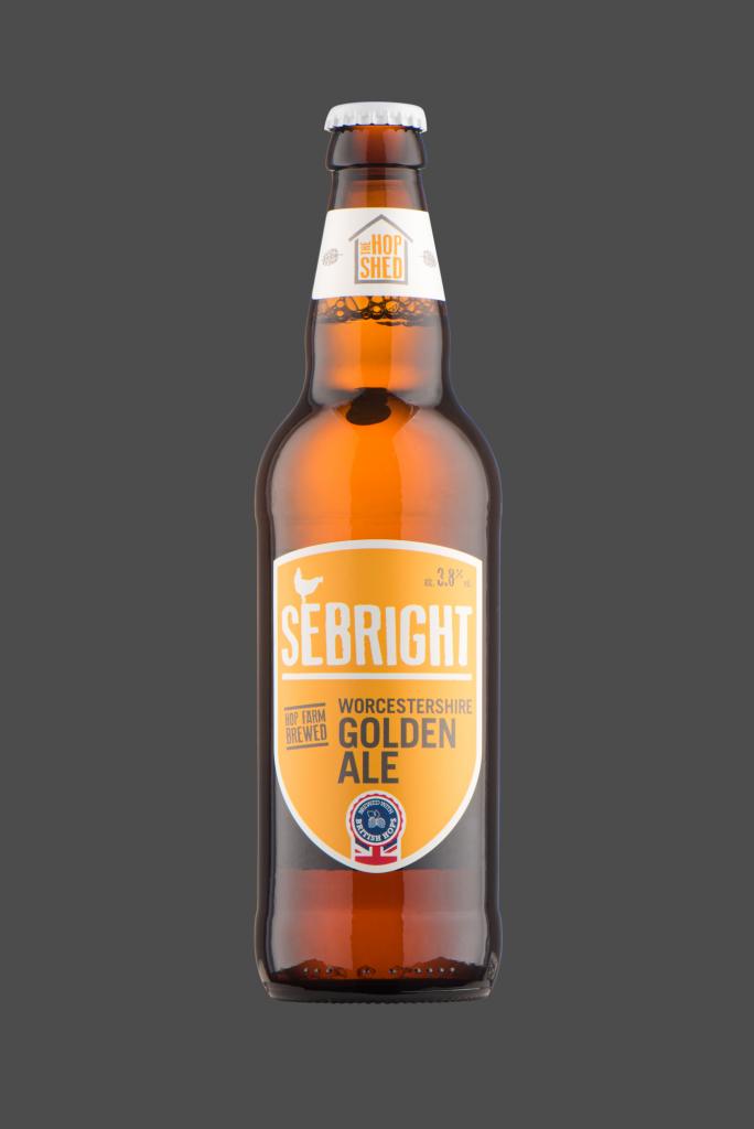 Sebright Golden Ale The Hop Shed Brewery Bottled Beer on Dark Grey