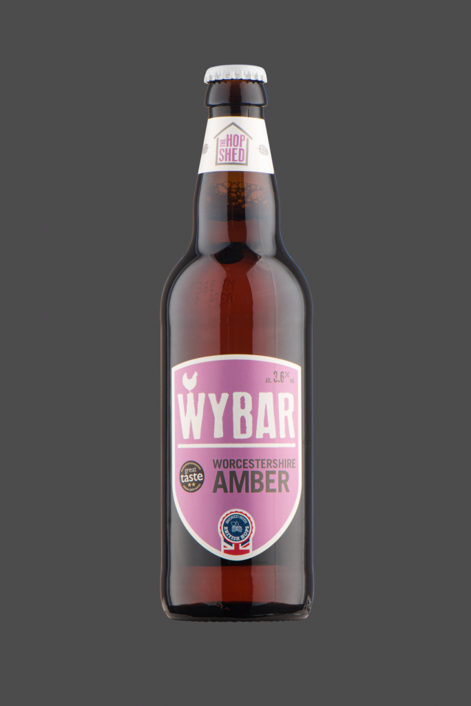 Wybar AMber Ale The Hop Shed Brewery Bottled Beer on Dark Grey