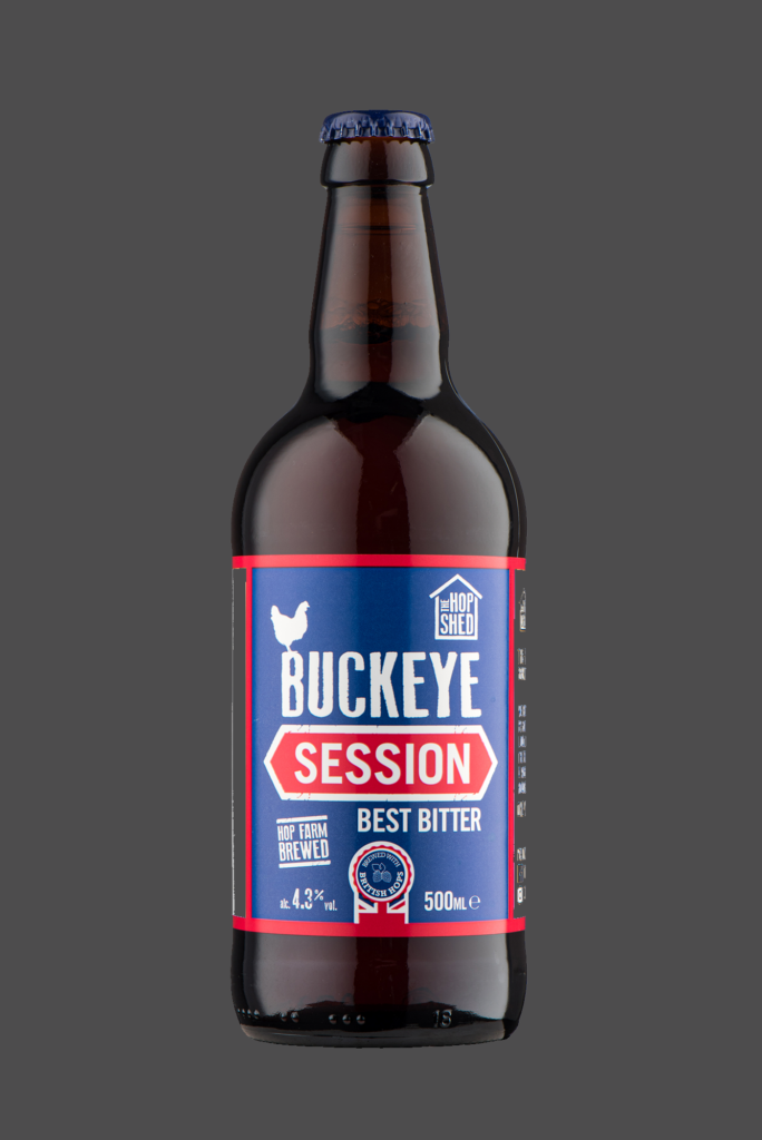 Buckeye Session Best Bitter The Hop Shed Brewery Bottled Beer on Dark Grey