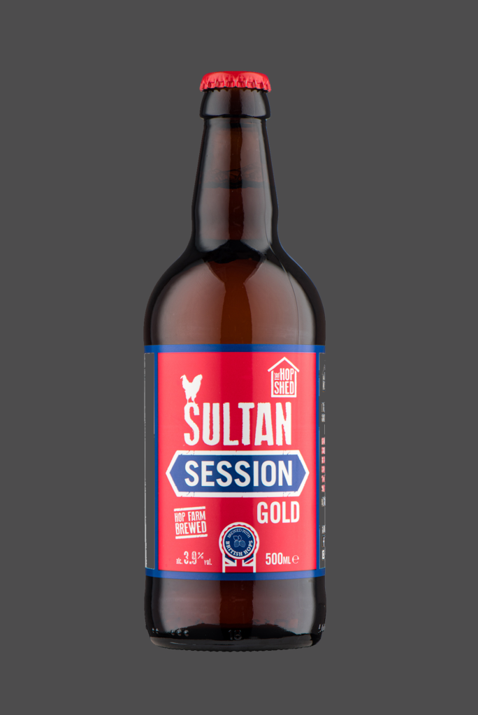 Sultan Session Gold The Hop Shed Brewery Bottled Beer on Dark Grey
